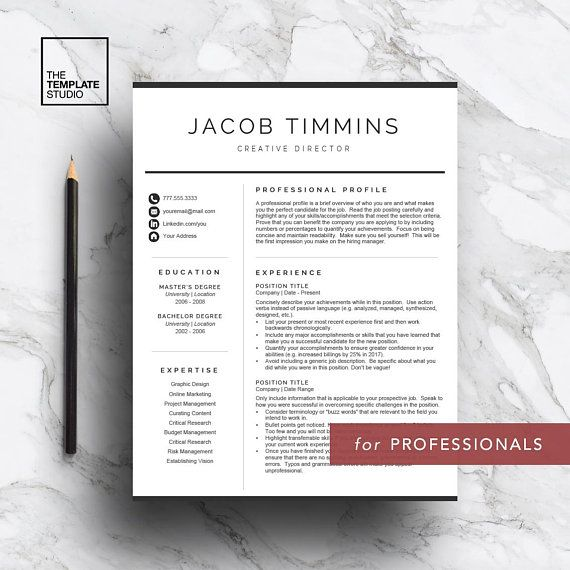 Professional Resume Template for Word  Pages, Curriculum Vitae