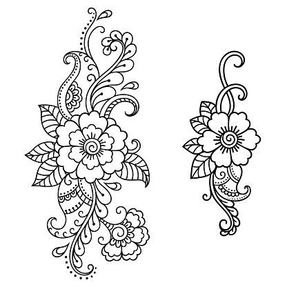 Henna tattoo flower template. Mehndi style. Set of ornamental...