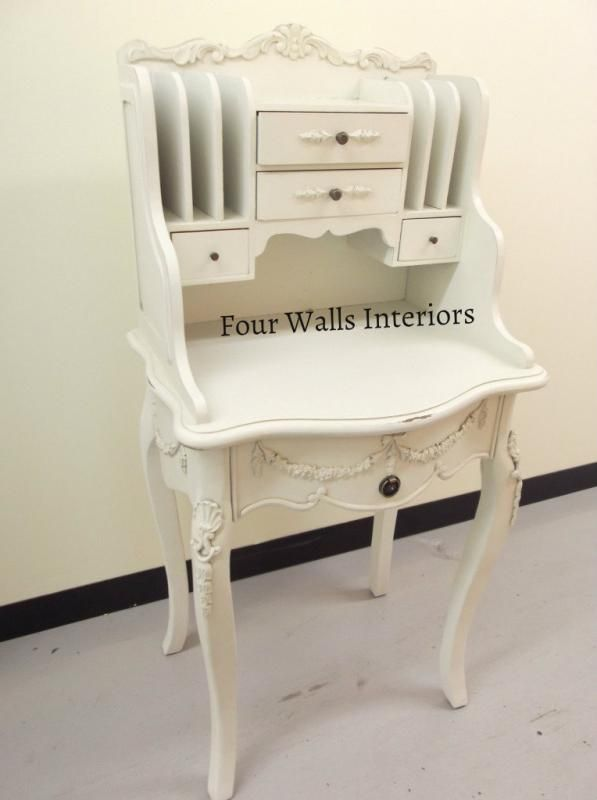 Antique White French Tall Compact Ladies Bureau Writing Desk Study Shabby Chic Four Walls Interiors Ladies Writing Desk Shabby Chic Home Decor