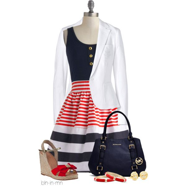 """Striped Dress & White Blazer"" by bln-in-mn on Polyvore.            I would wear without the blazer but keep it with me if needed"