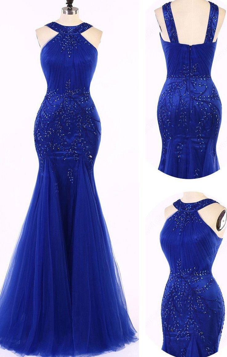 Hot sale sleeveless royal blue evening prom dresses great long