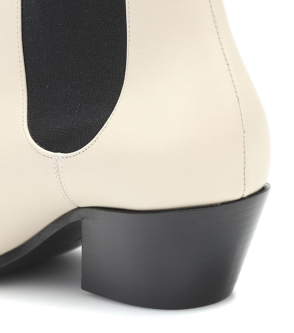 Saratoga leather ankle boots in cream #Sponsored #leather, #Saratoga, #ankle