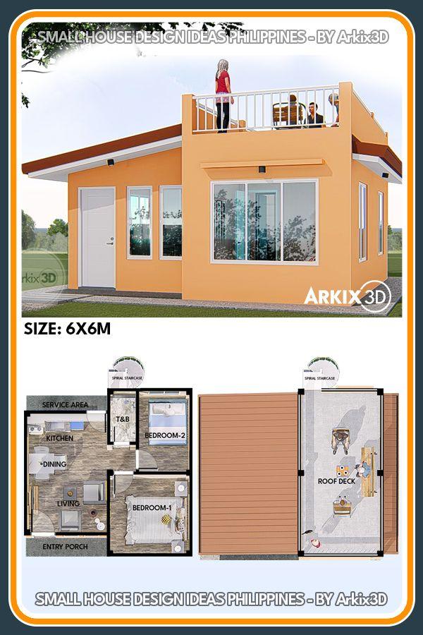 2 Bedroom with Roof Deck 6x6 meter 36 sqm