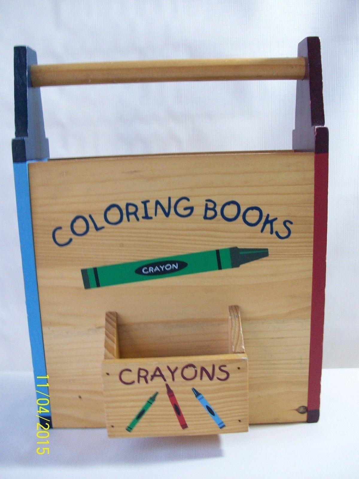 wooden coloring book box crayons storage boys girls bedroom