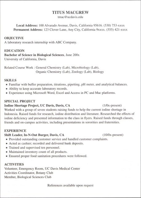 Health And Biological Sciences Sample Resumes Job Resume Examples Internship Resume Resume Objective