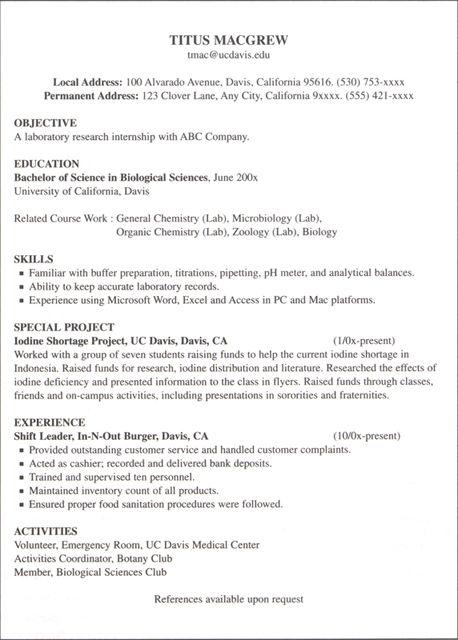 uc davis sample resume