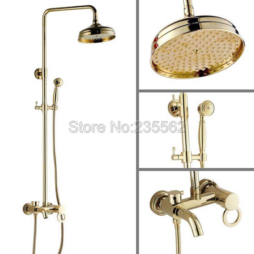 Gold Color Brass Bathroom Rain Shower Faucet Set Single Handle Mixer ...