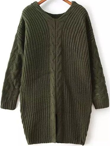 Green V Neck Long Sleeve Cable Knit Sweater 29.33