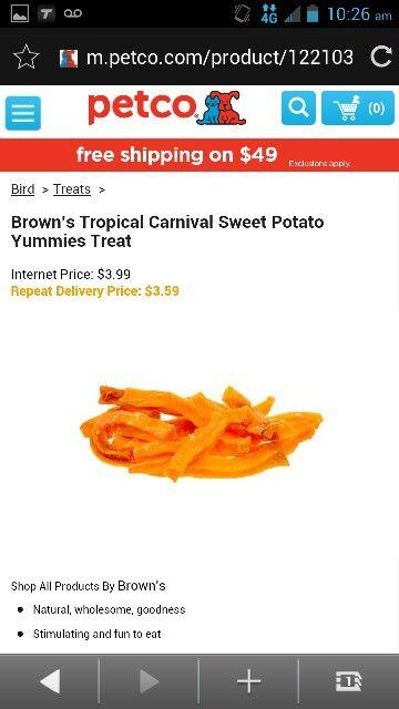 Brown S Tropical Carnival Sweet Potato Yummies Treat Bird Treats Yummy Sweet Potato