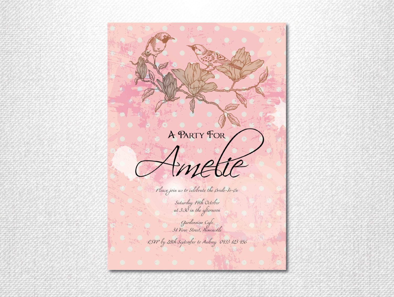simple diy bridal shower invitations%0A Bridal Shower Invitation   Bridal Tea Invitation   Bridal Tea Party  Invitations   Bird Invitation