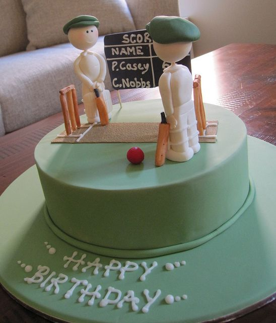 Cricket themed birthday cake Husband birthday cakes Cricket and