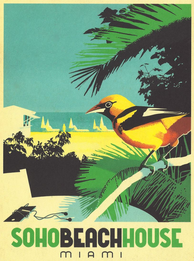 Soho Beach House Miami Postcard Jpg 813 1093 Pixels Designspiration Soho Beach House Miami Soho Beach House Vintage Posters
