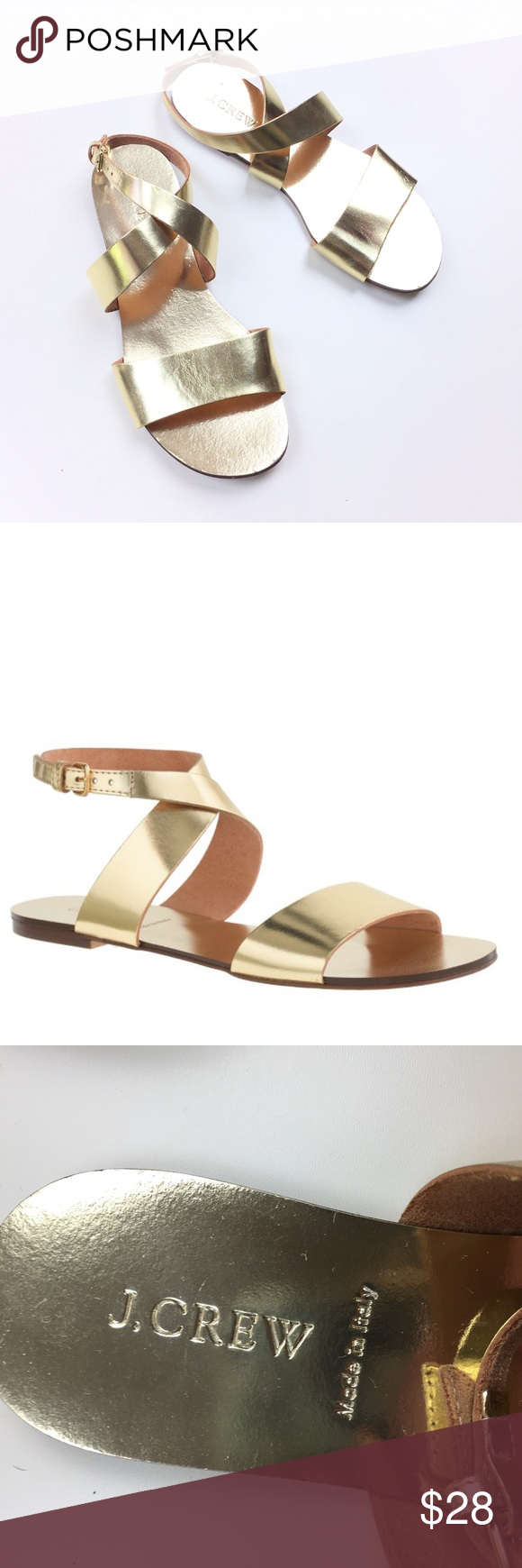 e2b9794110e J. Crew Gold Metallic Callie Made in Italy Sandals Great pair of J. Crew  Callie sandals. Metallic gold. Made it Italy. Very good condition - a few  scuffs ...