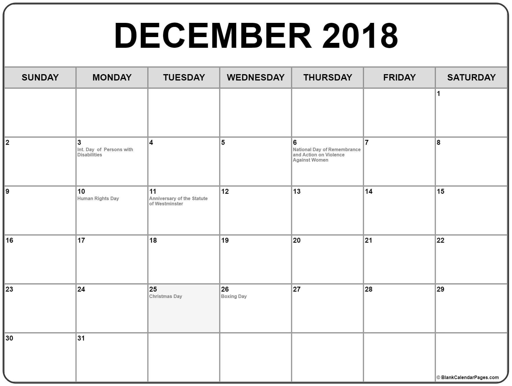December 2018 Calendar With Canadian Holidays Holiday Calendar