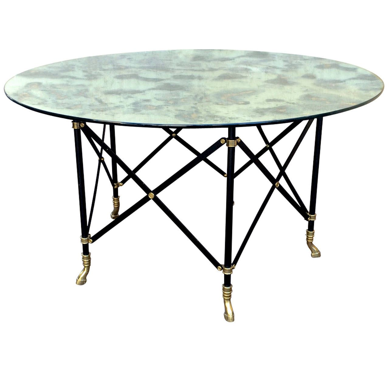 Maison Jansen Round Dinning Table With A Thick Eglomized Mirror Alluring Round Dining Room Table For Sale 2018