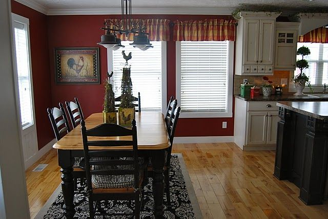 Home By Heidi I M Keeping The Red I Think Red Kitchen Walls Red Kitchen Decor Black And Red Kitchen