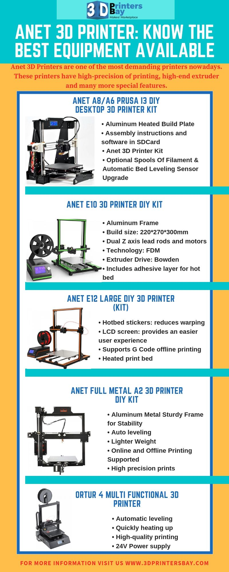 Anet 3D High Precision Quality Reprap Prusa i3 DIY Kit | Best Anet