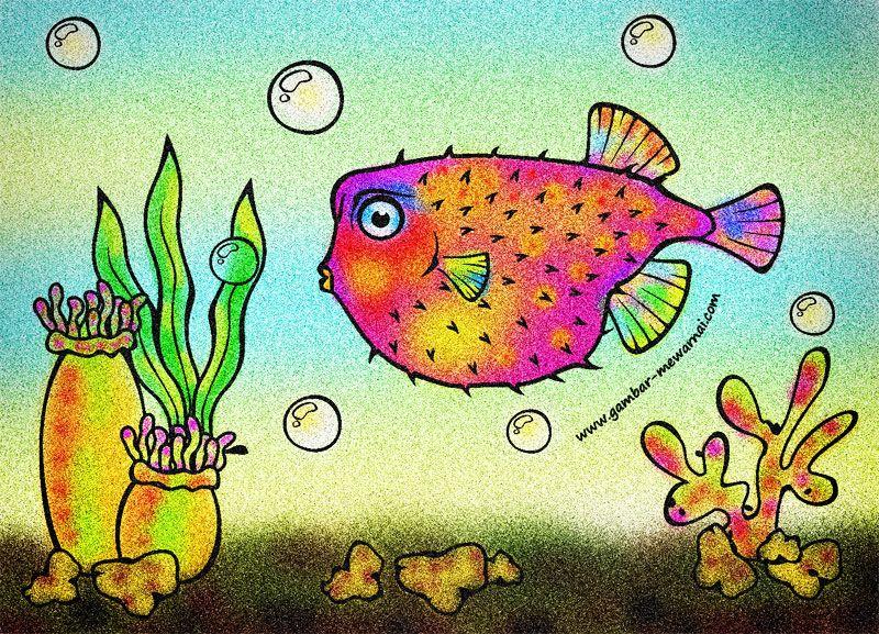 Contoh Mewarnai Ikan Buntal Dengan Gambar Ikan Kartun Gambar