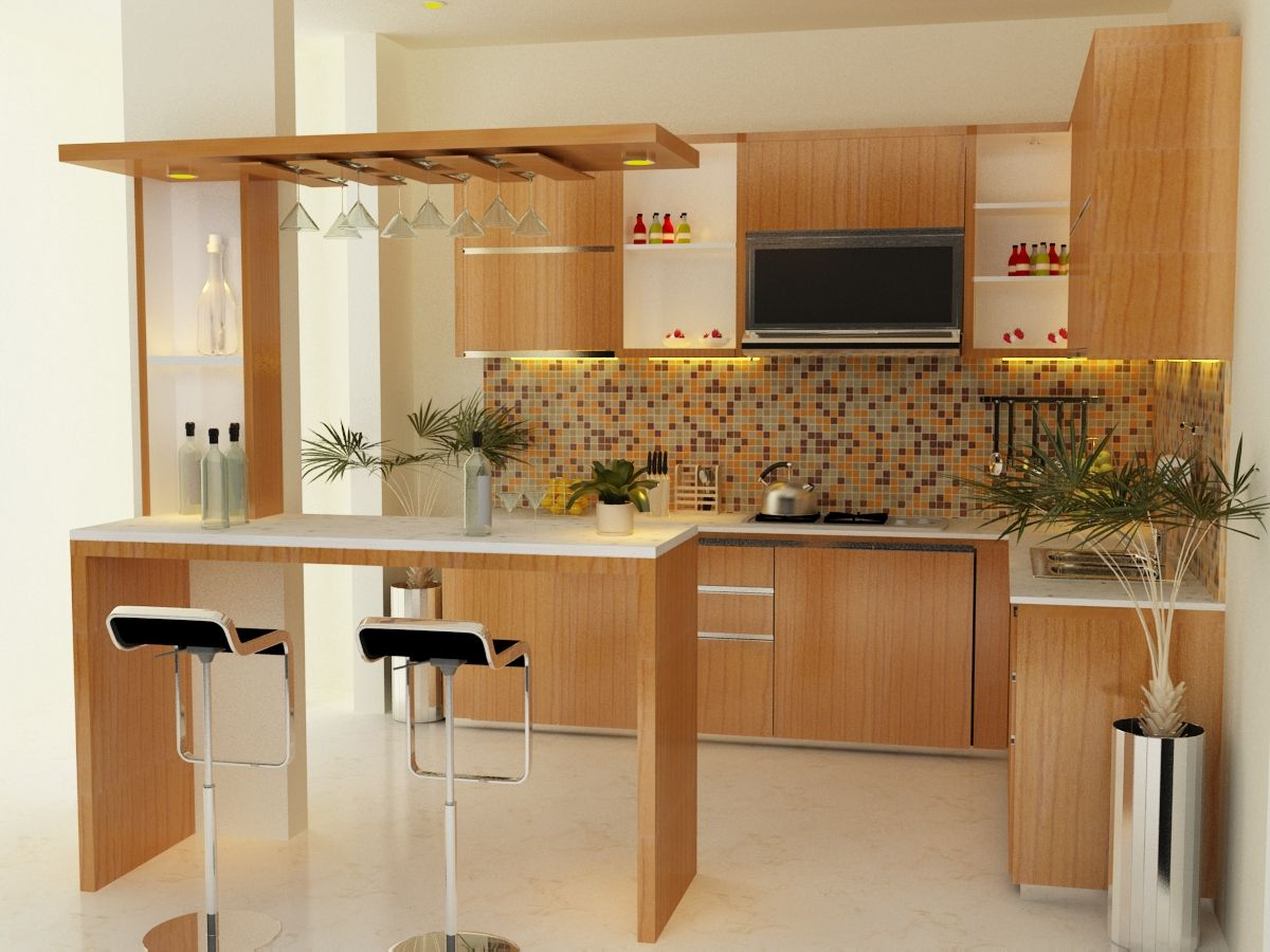 Modern Small White Kitchen Of Mini Interior Apartment Design Pictures With Neutral Wooden Base Cabinet That Have Stunning Marble Countertop And