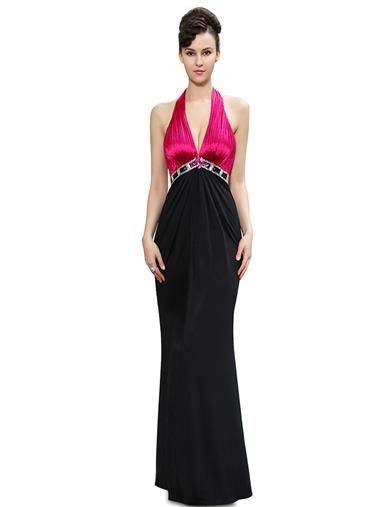 Shimmery Hot Pink Black Halter Evening Party Dress - Ever-Pretty US