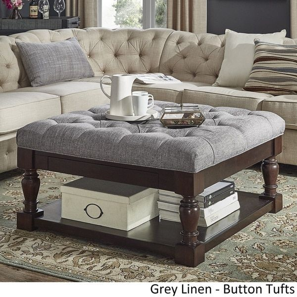 Lennon Baluster Espresso Storage Ottoman Coffee Table by TRIBECCA ...
