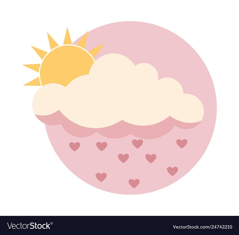 Flat Sun Behind Cloud Over Pink Sky With Hearts Vector Image On Vectorstock Pink Sky Clouds Iphone Icon