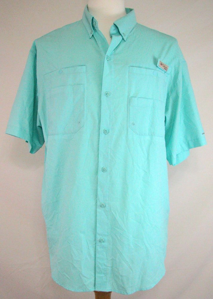7fccf50f35f Columbia PFG Fishing Shirt Omni Shade Blue Vented Wicking Size L Men's # Columbia #ShirtsTops