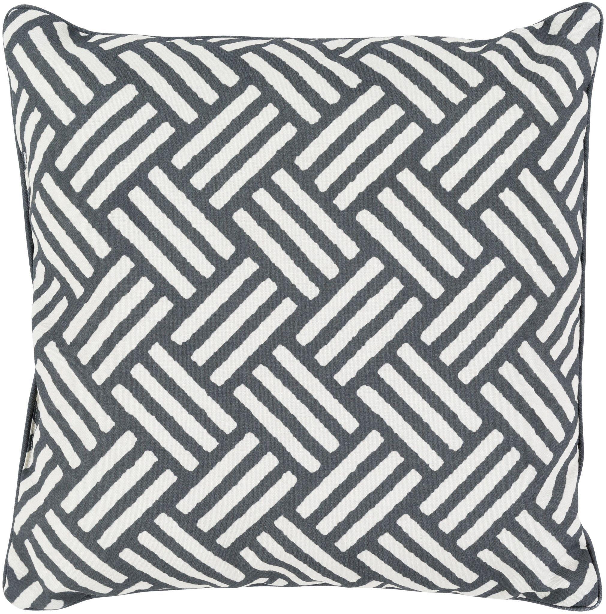 Surya basketweave throw pillow black neutral throw pillows ivory