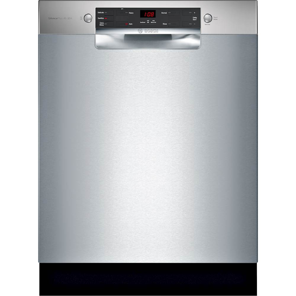 Bosch 300 Series 24 Front Control Built In Dishwasher With Stainless Steel Tub Stainless Steel Sge53x55uc Best Buy Steel Tub Built In Dishwasher Bosch Dishwashers