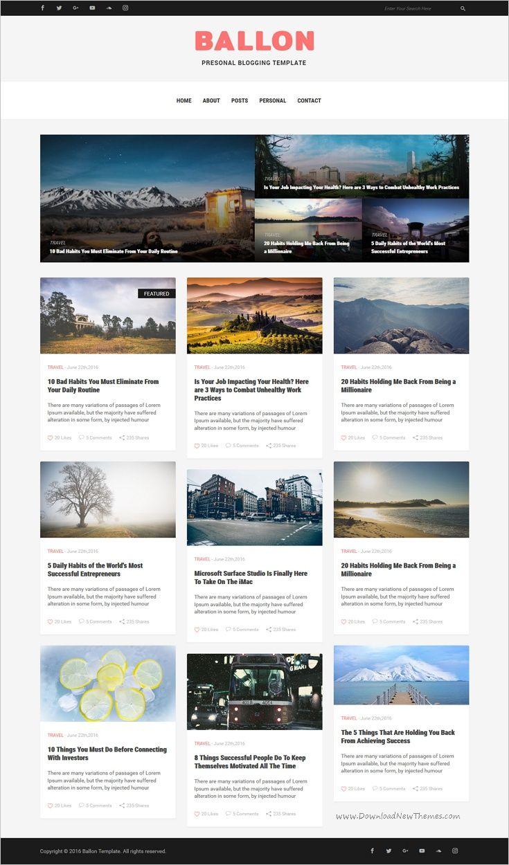 Balloon - Personal Blog HTML Template | Template