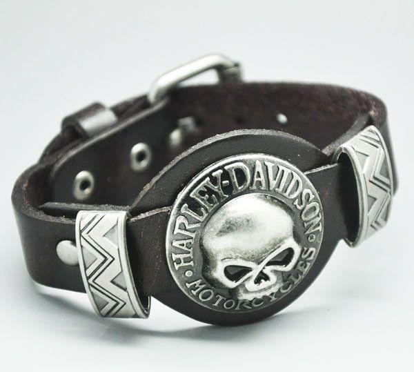 Leather Bracelet Skull For Harley Davidson Ml1014