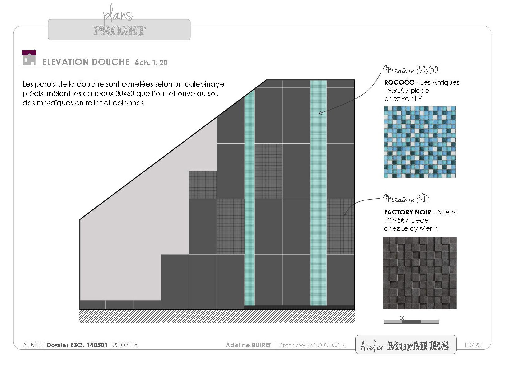 l vation calepinage pour une salle de bain sous combles salledebain bathroom renovation. Black Bedroom Furniture Sets. Home Design Ideas