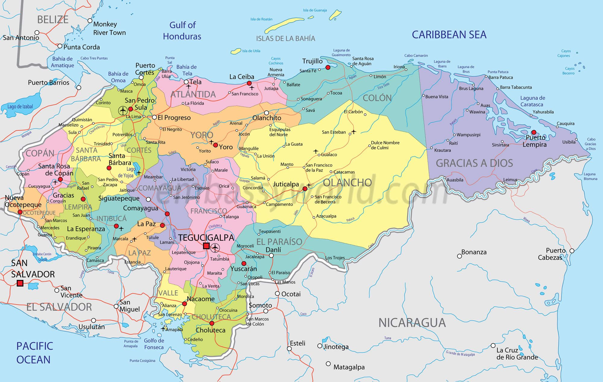 regional map of honduras Maps of Latin America Pinterest Honduras