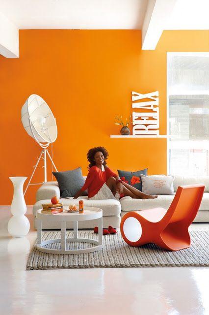 ArchiCasa: Soggiorno, arancione+bianco+grigio | Orange | Pinterest ...