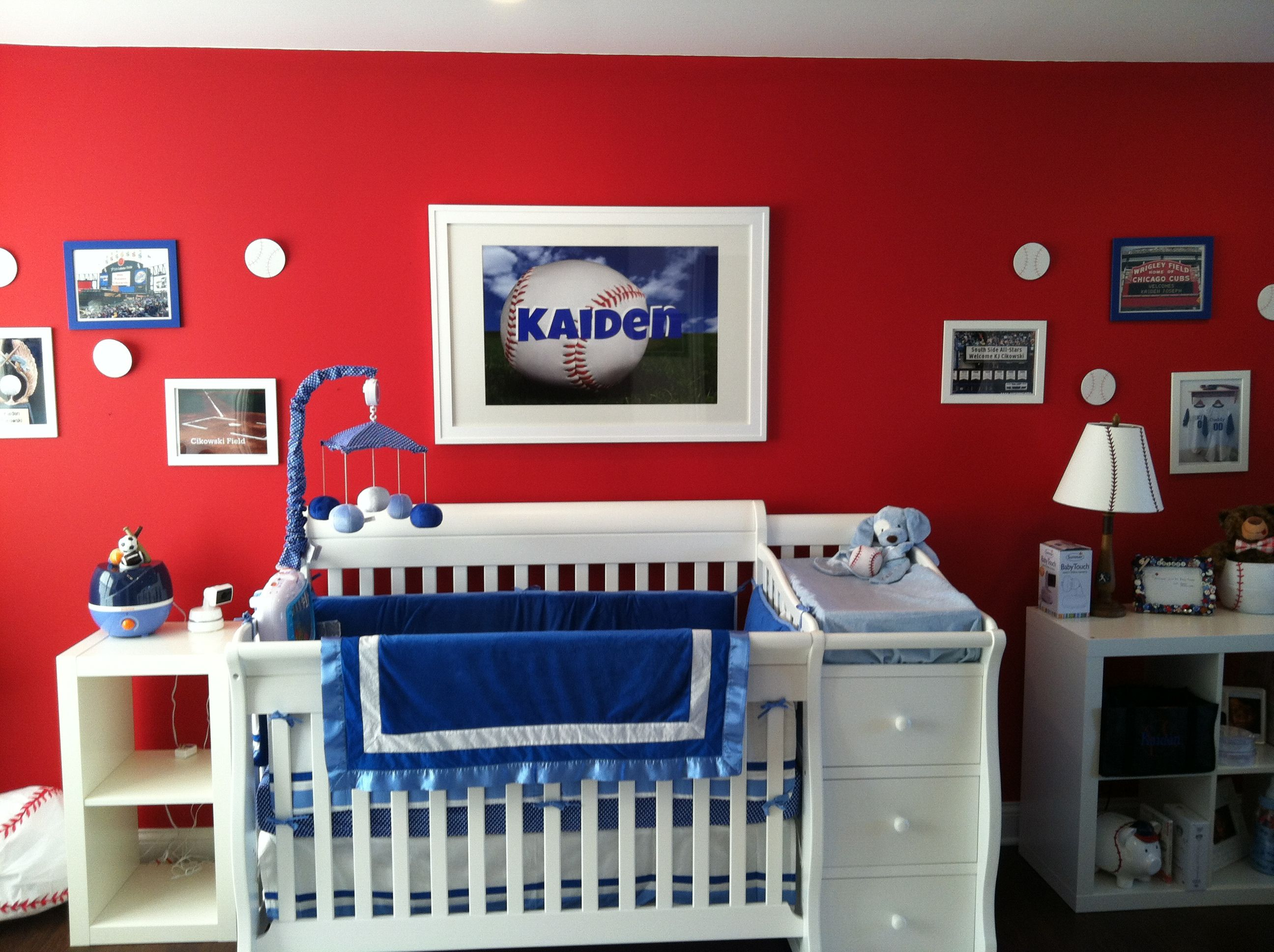 red and blue personalized baseball nursery for baby kaiden | for