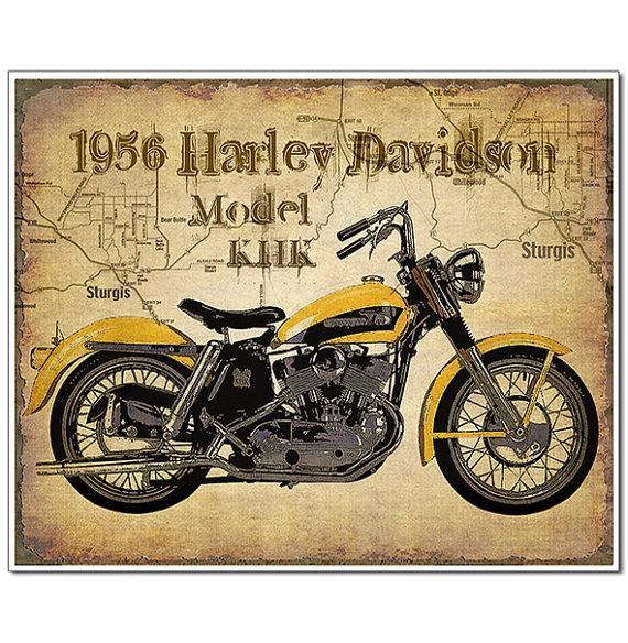 1956 Harley Davidson Vintage Motorcycle Art Print With Map Of Sturgis Artistically A Harley Davidson Motorcycles Harley Davidson Posters Vintage Motorcycle Art