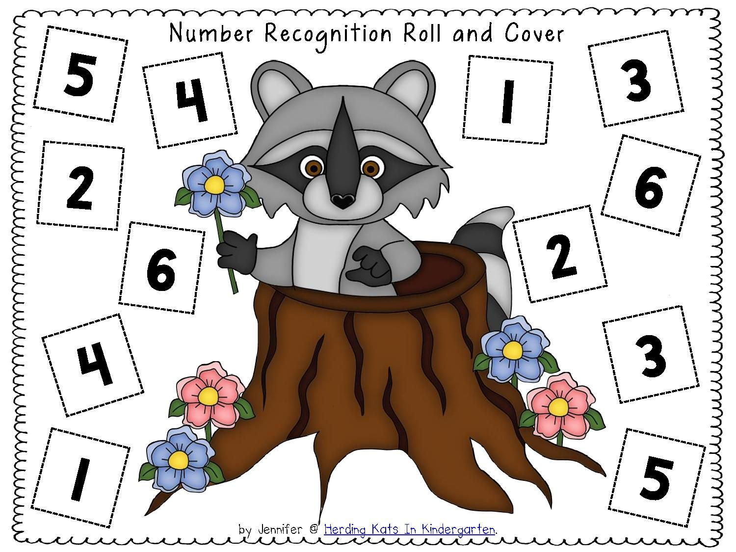 Raccoon Number Recognition Printable