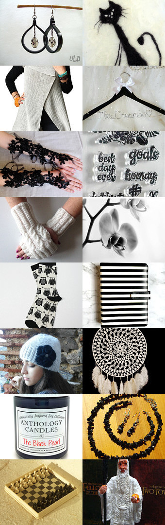 Black and White by Echocraftings on Etsy black and white a5 day planner, black and white alpaca beanie, black and white decor print, black and white owl socks, black bridal gloves, black bride hanger, black cat art, black leather earrings, handmade gifts, home decoration, jewelry for her, march finds, mothers day, original gift, spring finds, white long vest, white wrist warmers