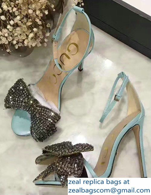 eb664a221db Gucci Heel 10.5cm Patent Leather Sandals With Removable Crystal Bow 480458  Light Blue 2017