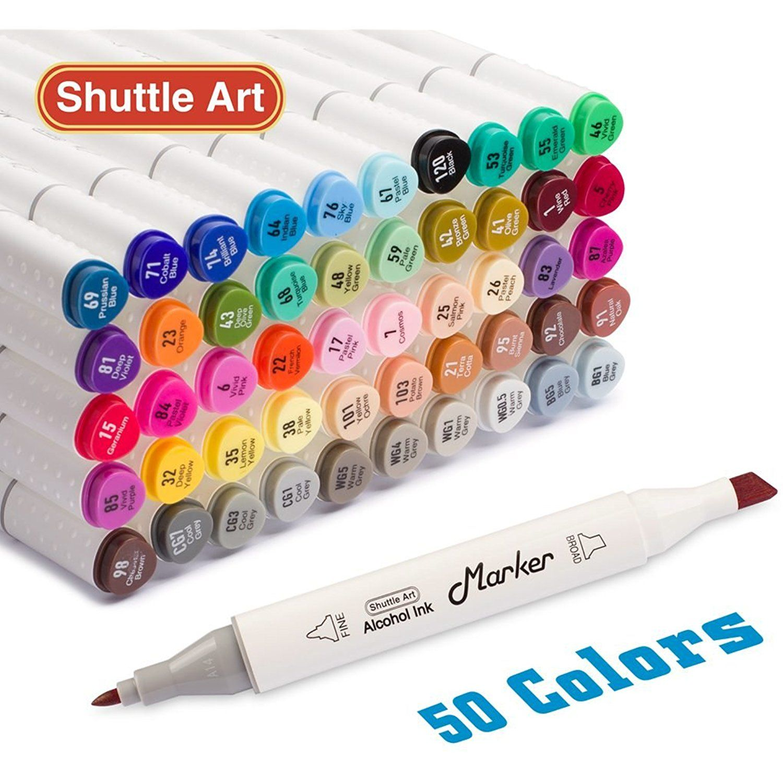 50 Markers Set Artist Dual Tip Art Permanent Marker Pens Highlighters Case