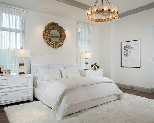 White Bed Hardwood Floor