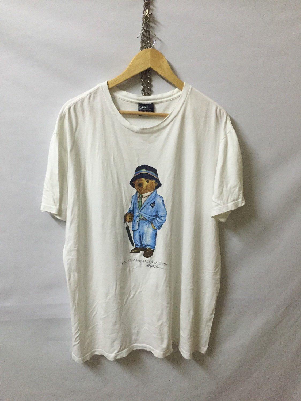 2b51b706 Vintage Authentic Polo Bear by Ralph Lauren White T-Shirt Armpit 24
