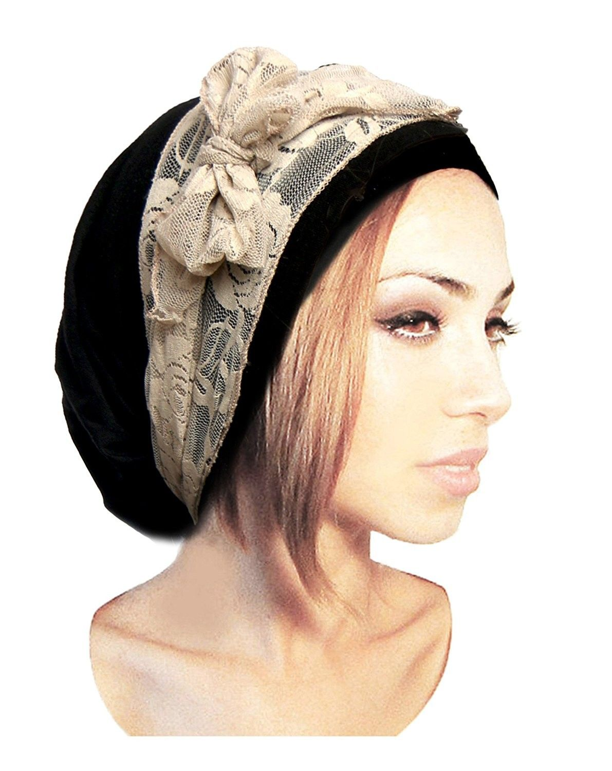 17abf6ad71184c Black Pre-Tied Head Scarf Boho Chic Bandana Tichel Vintage Cream Lace Wrap  - 076 - CJ11XKXNKSF - Hats & Caps, Women's Hats & Caps, Headbands  #womenscaps ...