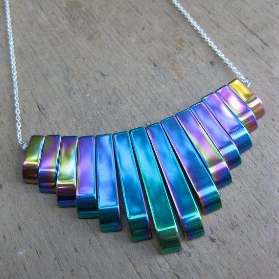 Ball and chain accessories necklaces jewelry rainbow ball and chain accessories necklaces jewelry rainbow holographic metallic iridescent titanium hematite bib necklace mozeypictures Images
