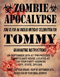 Birthday invitation zombie apocalypse 1 dirty 30 pinterest personalized zombie apocalypse birthday or halloween party invitation walking dead theme party invitation filmwisefo