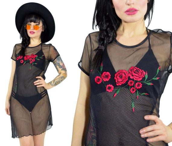 vintage 90s sheer black mesh mini dress embroidered by AsIfStore