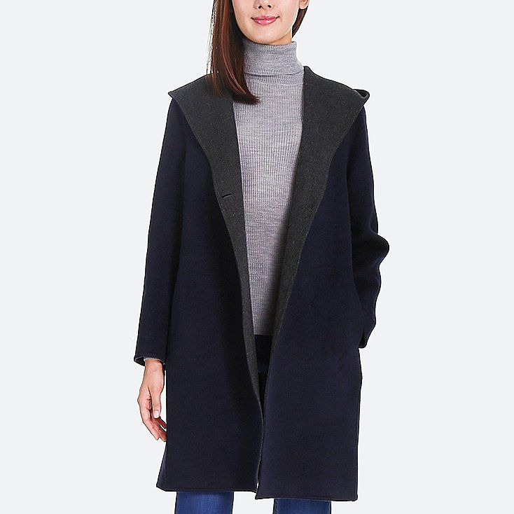 1f3b657e1ad WOMEN DOUBLE-FACE HOODED COAT, NAVY   Style it up   Coat, Outerwear ...