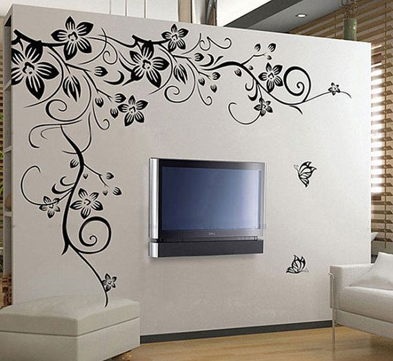 Large Black Vine Flower Rattan Butterfly Removable Vinyl Wall