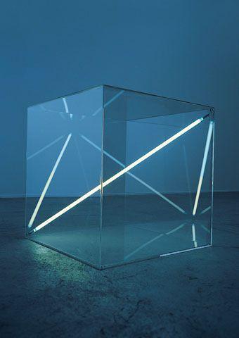 Boundless I 1975 Acrylic Glass Cube 68 X 68 X 68 Cm Dualtone Argon Lighttube By Christian Herdeg Lichtkunst Glaswurfel Lichtkunstler
