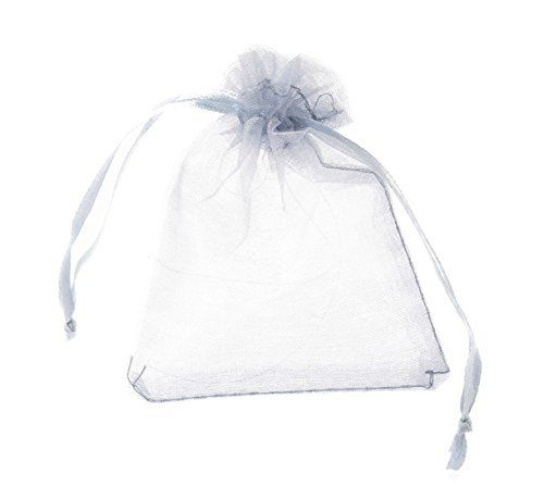 HOUSWEETY 100 Silver Organza Wedding Favour Bags Jewellery